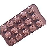 iHOMIKI Schwein-Kuchen-Form-Silikon-Form fr Sigkeit Schokolade Bakeware Form 15 Cavity Brown
