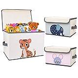 DIMJ Kinder Aufbewahrungsbox, Faltkiste Spielzeugkiste mit Deckel und Griffe, für Bücher,...