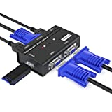 MT-Viki 2 Port VGA KVM Switch mit 3 USB Hubs, 2 Computern Teilen 1 Satz Monitor + Tastatur + Maus +...