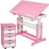 TecTake 800062 Kinderschreibtisch mit Rollcontainer Schreibtisch neig- & höhenverstellbar -Diverse...
