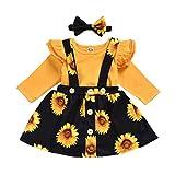 LUCSUN Kleinkind Baby Mädchen Kleidung Set Rüschen Langarm Tops Strampler + Sonnenblumen-Gurt Rock...