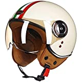 OUUUKL Retro MotorradHelm, Motorrad-Halb Offener Helm Eingebaute Gläser, Halbhelme mit Einstellbare...