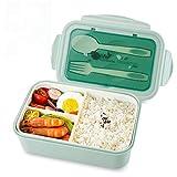 vitutech Brotdose Lunch Box Kinder, Bento Box Lunchbox mit 3 Fächern und Besteck, Vesperdose...