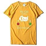 BURFLY Frauen Mode Casual Süß Arbeiten Beiläufige Katze Druck Kurzschluss Hülsen Oansatz T-Shirt...