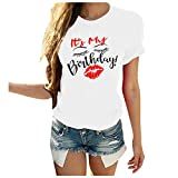 Luotuo Damen Sommer Basic T-Shirt Oversize Rundhalsausschnitt Kurzarm Tops Solide Briefdruck Lockere...