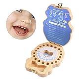 arthomer Zahnbox für Kinder, Holzkiste bemalt zur Aufbewahrung von Kinderzähnen blau