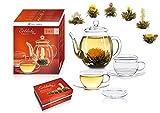 Erblüh-Tee Genießerset - Glas Teekanne 0,5l, 2 Tassen, 6 Teeblumen