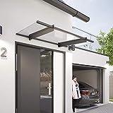 Schulte Vordach 151x92 cm Haustür-Dach Überdachung Stahl Anthrazit rostfrei Acrylglas klar...
