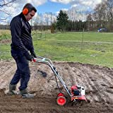 Benzin Gartenhacke (NEU) Effektive Bodenbearbeitung mit 25 cm Arbeitsbreite – 2-Takt Motor – 16...