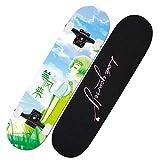 Skateboard Komplett Board 79x20cm Holzboard aus 31 Zoll Ahornholz, 85A Rollen für Anfänger Kinder...