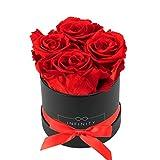 Infinity Flowerbox Small (Schwarz) - 4 echte Premiumrosen in Vibrant Red