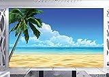 Fototapete 3D Effekt Blauer Himmel, Weiße Wolken, Meer, Strand, Kokosnussbaum, Einfacher Meerblick...