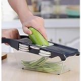 JNWEIYU Gemüsehobel, Multifunktionsküchen Nahrungsmittelzerhacker, 6 In 1Interchangeable Klingen...