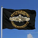 qinzuisp Fahne Navy - Surface Warfare Badge - Gold Yard Banner Druck Holiday Outdoor Home Brise...
