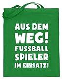shirt-o-magic Fuball: Fuballspieler im Einsatz! - Jutebeutel (mit langen Henkeln) -38cm-42cm-Helles...