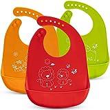 Baby-Lätzchen - 3er-Pack Silikon-Lätzchen - Lätzchen mit Auffangschale für Babys - 7...