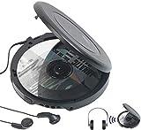 auvisio CD Spieler: Tragbarer CD-Player mit Ohrhörern, Bluetooth und Anti-Shock-Funktion (CD Player...