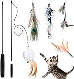 BTkviseQat Interaktives Katzenspielzeug Feder, Katzenspielzeug Einziehbare Natürliche Federstab...