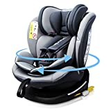 Reecle Drehbarer Kindersitz mit ISOFIX Gruppe 0+/1/2/3 Autositz 360°(0-36 kg) Grau