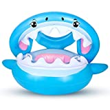 Flyboo Baby Schwimmring mit Sonnendach Hai Schwimmhilfen Aufblasbares Kinderboot Baby Schwimmen Ring...