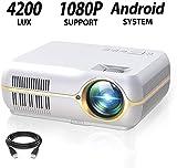 DOOK WiFi Beamer, Kabellos Full HD 1280x800P Spiel Video projektor fr Zuhause und die Arbeit, 4200...