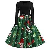 Ni_ka_Christmas Kleidung NI_ka Damen Mode Weihnachten Print Kleid Rundhals Reißverschluss Bogen...