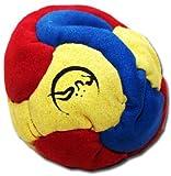 Profi Footbag 6 Paneelen (Blau/Gelb/Rot) Pro Freestyle Footbag! Hacky Sack für Anfänger und...