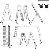 Aufun Alu Multifunktionsleiter 6 in 1 Leitergerüst 4 x 5 Sprossen Leiter Klappleiter Verstellbar...