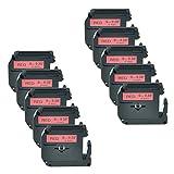 Nineleaf Etikettenband, kompatibel mit Brother M Tape M421 MK421 M-K421 Schwarz auf Rot, für...