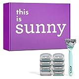 Sunny The Teal Starter-Set, Griff und 8 Rasierklingen