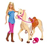 Barbie FXH13 Pferd mit Mähne und Puppe mit beweglichen Knien, Puppen Spielzeug und Puppenzubehör...