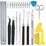 Hahepo 24pcs Holz Schnitzwerkzeug Set mit Tasche Vinyl Craft enthält 24 Tools Schnitzwerkzeuge Holz...