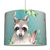 Anna Wand Hängelampe Friendly Forest/Mint – Lampenschirm für Kinder/Baby Lampe mit Waldtieren...