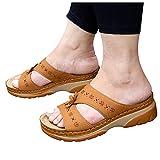 BIBOKAOKE Pantoffeln Damen Sommer Sandalen Hausschuhe Open Toe Schlappen Orthopädische Pantoffeln...
