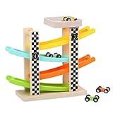 Hölzerne Rennstrecke Rampenrennen Car Ramp Racer Mit 4 Mini Autos Spielzeug, Autorennbahn Holz...