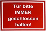 BigTrend24 Warnschild Sicherheitsschild Tür Bitte Immer Geschlossen Halten Türschild Rahmen Rot...