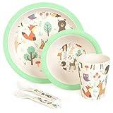 boppi 5-teiliges Bambus-Geschirr- und Besteck-Set für Kinder mit spülmaschinenfestem und...