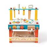 Robotime Workbench Holzwerkzeuge Box-Sets für Kinder mit Schubladen, Hammer, Schraubenschlüssel...