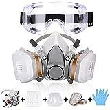 Atemschutzmaske Gasmaske mit Doppelfilterpatronen,Halbmaske mit Schutzbrille,Ultimativer Atemschutz...