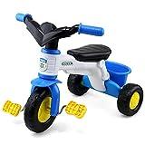 LVJUNQ Tragbare Baby-Dreiräder mit rutschfestem Pedal und rückseitigem Aufbewahrungskorb,...