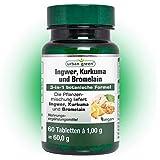 urban green Ingwer-Kurkuma-Bromelain Komplex – vegan, laktosefrei und glutenfrei – 60 Tabletten
