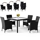Deuba Poly Rattan Sitzgruppe 4+1 Stapelbare Stühle & Tisch 7cm Auflagen 4 Personen Sitzgarnitur...