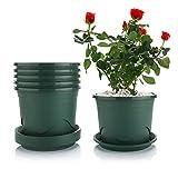T4U 16cm Atmungsaktiver Blumentopf mit Untersetzer 6er-Set, Plastik Anzuchttopf Kräutertopf für...