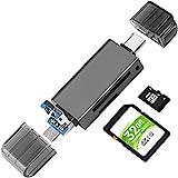 SD/Micro SD Kartenleser, BorlterClamp Speicherkartenleser 3-in-1 Kartenlesegerät mit USB C MicroUSB...