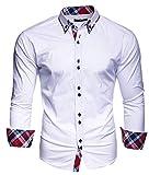 Kayhan Herren Musteraermel Hemd Weiß S