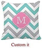 HGFK Kissenbezug Teal Blue and Gray Chevron Pattern with Monogram Outdoor Pillow Covers 18 x...