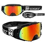 TWO-X Rocket Crossbrille schwarz Glas verspiegelt Iridium MX Brille Nasenschutz Motocross Enduro...