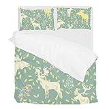 Lafle Bettbezug mit Kissenbezug, Blumenmotiv, Polyester, Polyester, Mehrfarbig, Volle Größe
