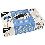 PAPSTAR Handschuh, unsteril, Naturlatex, puderfrei, Größe: L, schwarz (100 Stück), Sie erhalten 1...