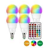 LED Lampe E14 RGBW, 5er Set LED Farbwechsel Birne 5 Watt (ersetzt 40W), Dimmbar Farben LED Glhbirne,...